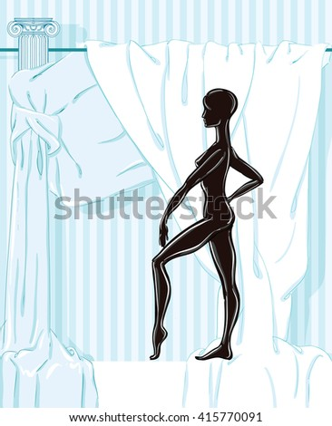 Vector illustration of a black  female mannequin without any clothes on the background drape - stock vector