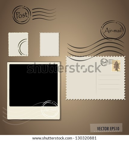 Vector illustration of a blank grunge post stamps, postcard and photo frame. - stock vector