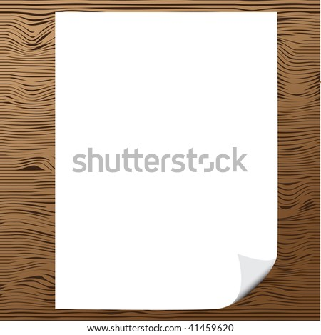 Vector - Illustration of a blank piece of paper with corner curl against wood background - stock vector