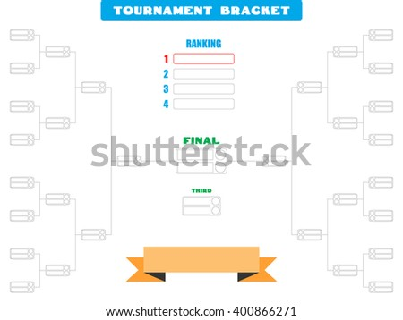 Vector illustration of a blank tournament bracket for 16 teams - Eps10 Vector graphics and illustration - stock vector
