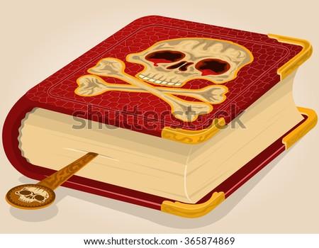 Vector illustration of a bloody skull horror book. - stock vector