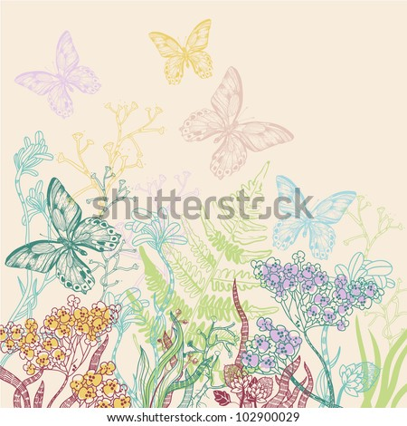 vector illustration of a blooming field and flying butterflies - stock vector