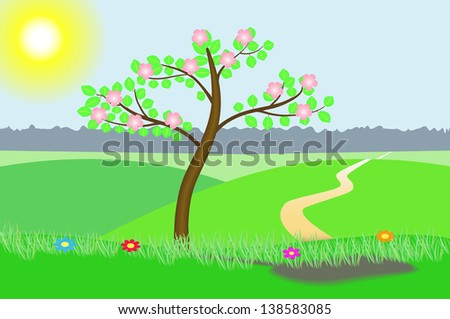 Vector illustration of a blossoming tree