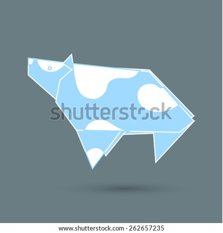 Vector illustration of a blue cow origami - stock vector