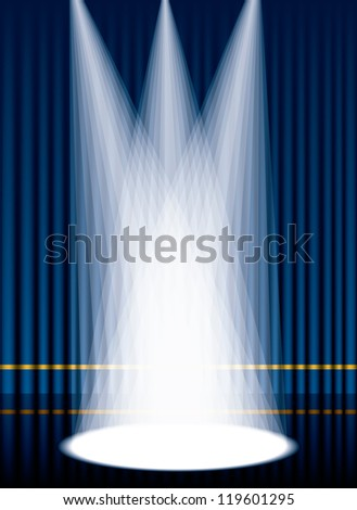 Vector illustration of a blue curtain stage with lights. - stock vector