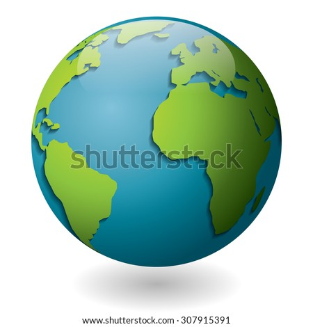 Vector illustration of a blue globe with green continents