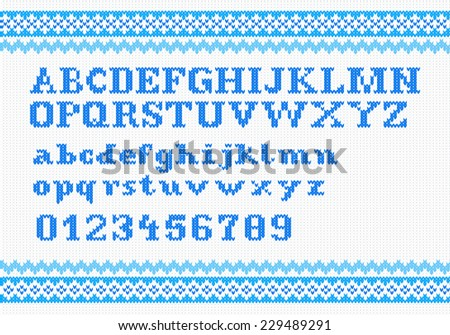 vector illustration of a blue knitting alphabet on white background - stock vector