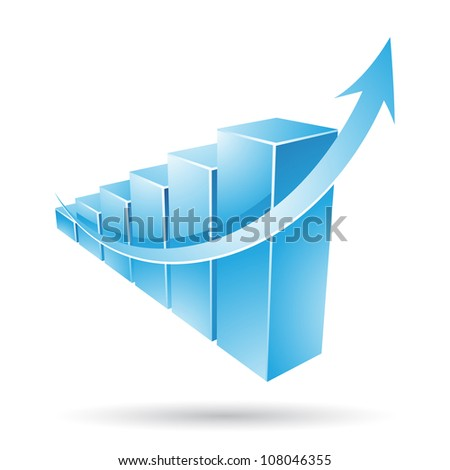 Vector illustration of a blue stat bars chart - stock vector