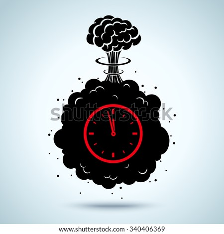 Vector illustration of a bomb with a timer - stock vector