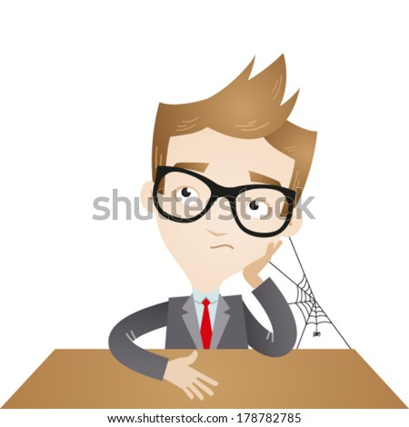 Vector illustration of a bored cartoon businessman sitting at his desk with a spider spinning a web between his head, arm and desk. - stock vector