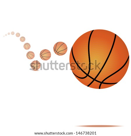 Vector illustration of a bouncing basketball on white background - stock vector