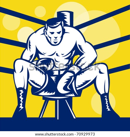 vector illustration of a Boxer sitting on stool front view inside boxing ring in square format done in retro woodcut style