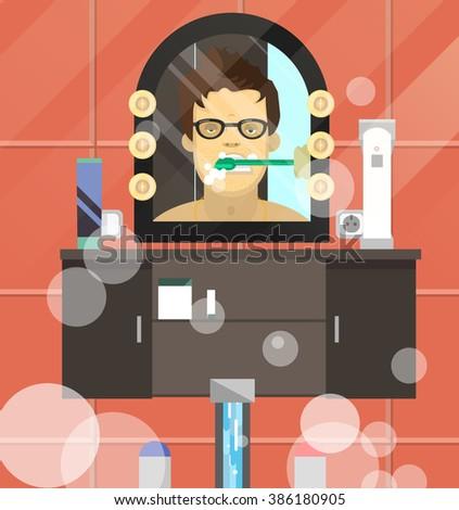 Vector illustration of a boy brushing his teeth. - stock vector