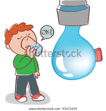 Vector illustration of a boy drinking safe tap water. - stock vector