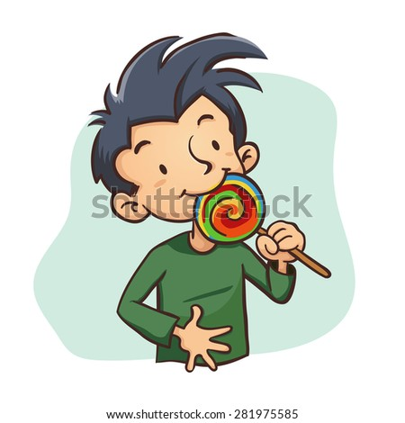 Vector Illustration of a boy eating a lollipop candy - stock vector