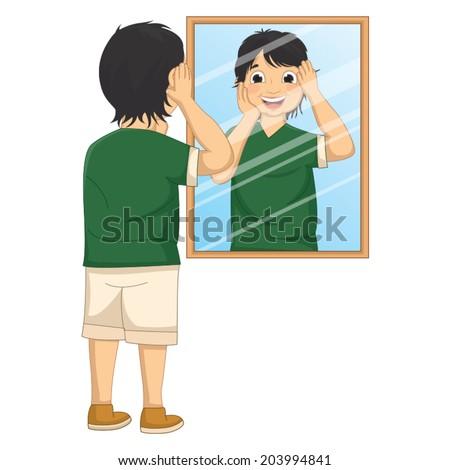 Vector Illustration of A Boy Facing The Mirror - stock vector