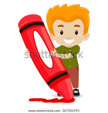 vector illustration of a boy holding a crayon - Cartoon Pictures Of Crayons