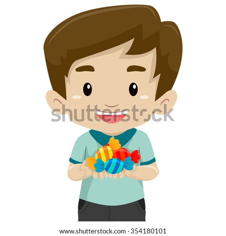 Vector Illustration of a Boy holding candies
