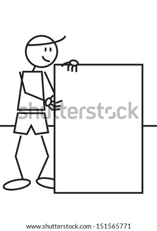 Vector illustration of a boy with a blank billboard. stick figure