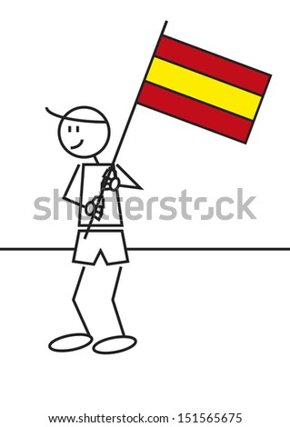 Vector illustration of a boy with a Spain flag. Stick figure