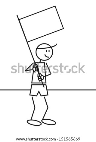 Vector illustration of a boy with a white flag. Stick figure