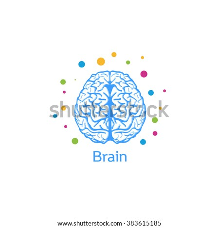 Vector illustration of a brain image of a person or a large animal in a light blue color with colored balls around the logo. Brain logo. Brain icon. Vector brain. Kids brain. Child brain. Psycho brain - stock vector