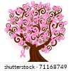 vector illustration of a breast cancer pink ribbon tree - stock photo