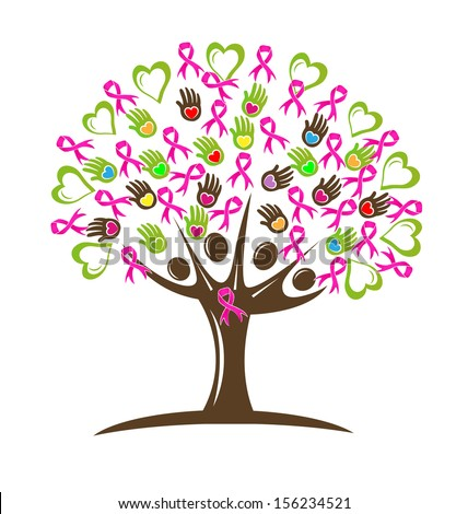 Vector illustration of a breast cancer pink ribbon tree with hearts hands and people  - stock vector