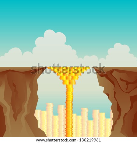 Vector illustration of a bridge made by gold coins interconnecting two cliffs. - stock vector