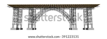 Vector illustration of a bridge with metro - stock vector
