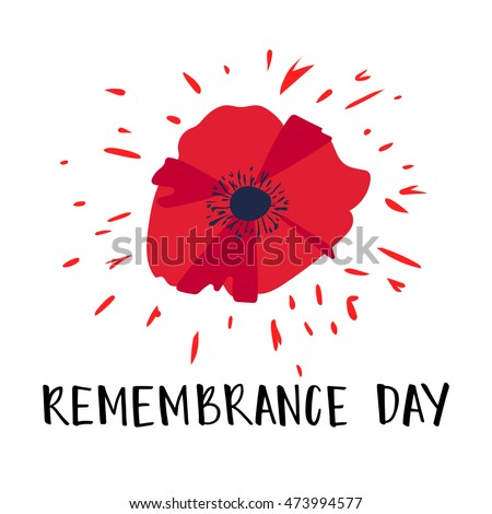 Vector Illustration Bright Poppy Flower Remembrance Stock Vector