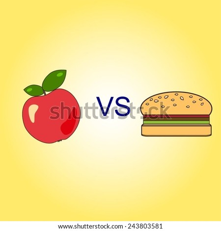 Vector illustration of a bright red apple with green leaves and a hamburger with VS letters between them. Healthy lifestyle concept. Choice concept. - stock vector