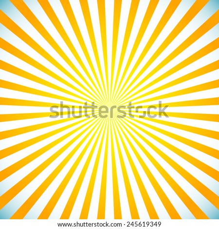 Vector illustration of a bright sunburst, star burst background. Sun light spreading from center. Eps 10. - stock vector