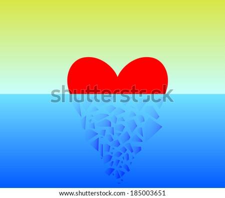 Vector illustration of a broken heart in half. - stock vector