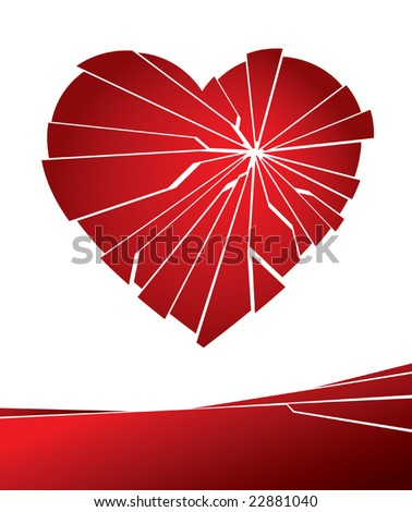 Vector illustration of a broken love heart. - stock vector