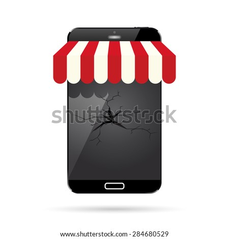 Vector illustration of a broken mobile smartphone with an awning. - stock vector