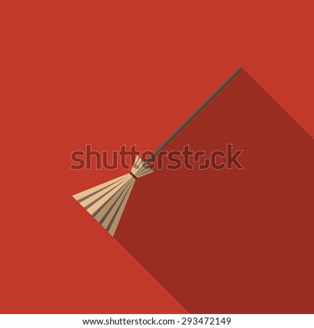 Vector illustration of a broom. Flat design icon with a long shadow, eps10.