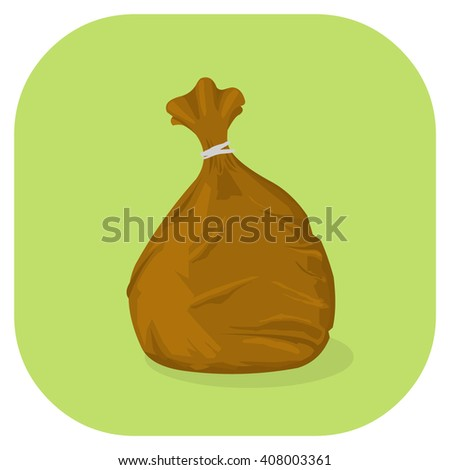 Vector illustration of a Brown plastic garbage bag icon. Tied plastic trash sacks ready for disposal and garbage collection. - stock vector