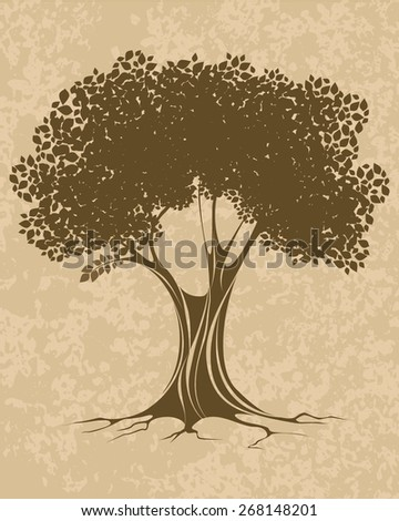 Vector illustration of a brown tree with leafs