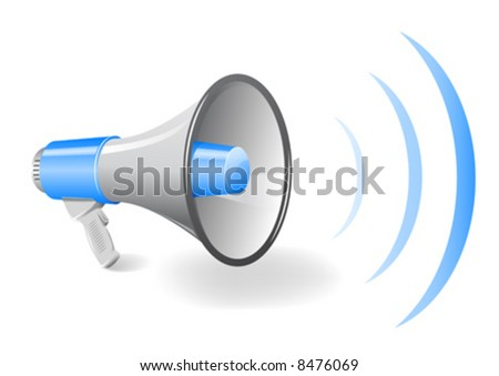 Vector illustration of a bullhorn / megaphone - stock vector
