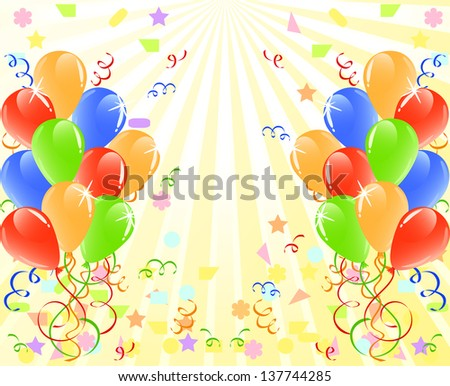 vector illustration of a bunch of balloons  with space for text. - stock vector