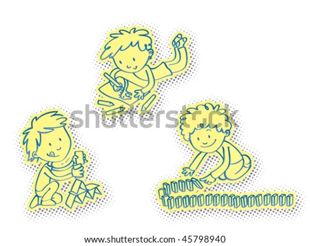 Vector illustration of a bunch of children playing indoors games, away from the computer and video games. Daily doses recommended! - stock vector