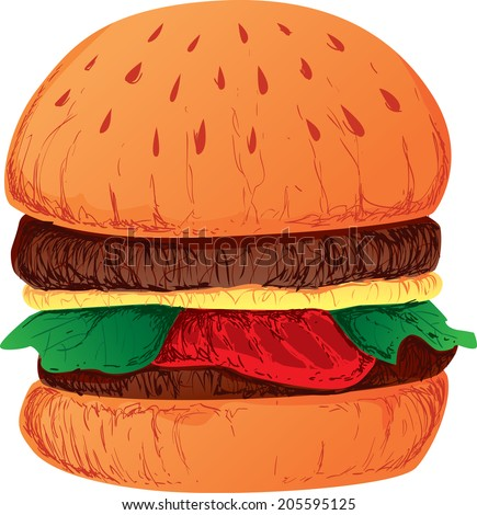 Vector Illustration of a burger sandwich, with patty, cheese and some veggies inside - stock vector