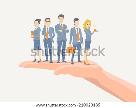 Vector illustration of a business team of young business people standing together on palm of the hand on white background - stock vector