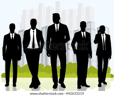 Vector illustration of a business team on city background