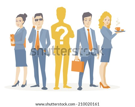 Vector illustration of a business team standing together in the center is the chief silhouette with a question mark on a white background - stock vector