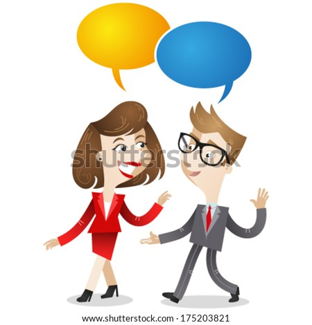 Vector illustration of a businessman and business woman walking and having a conversation with speech balloons. Jpeg version also available in my gallery. - stock vector