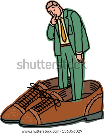 Kid With Shoe That Is Too Big Clipart
