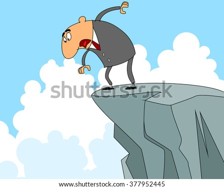 Vector illustration of a businessman on edge of abyss - stock vector