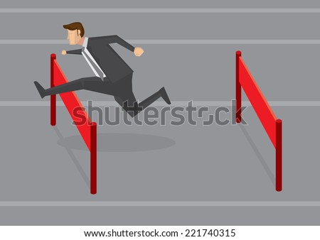 Vector illustration of a businessman running and jumping hurdles. Conceptual design for overcoming difficulties in business. - stock vector